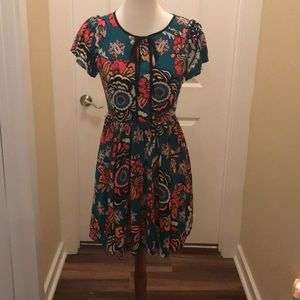 Express Floral Dress in Teal - Size 2